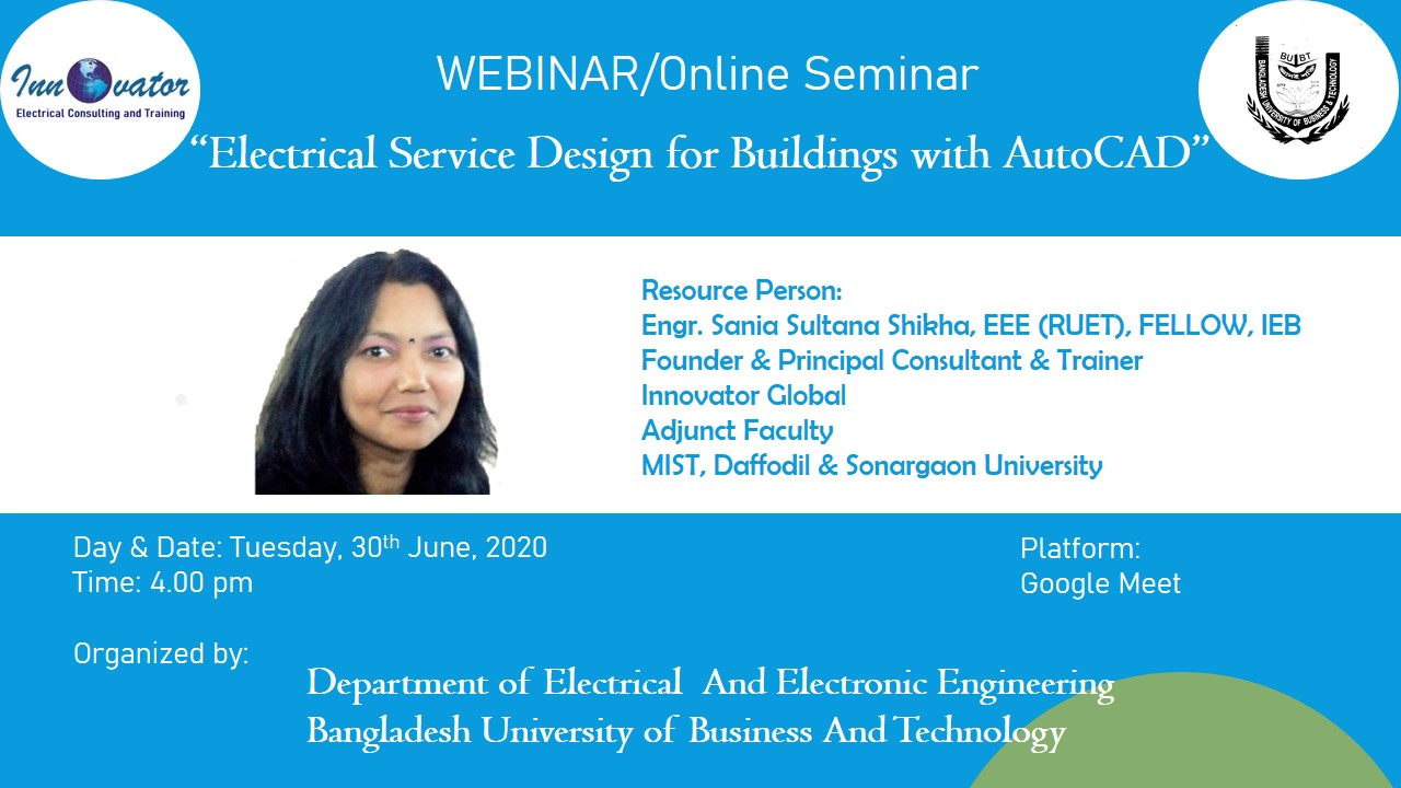 Online Seminar on Electrical Service Design for Buildings with AutoCad