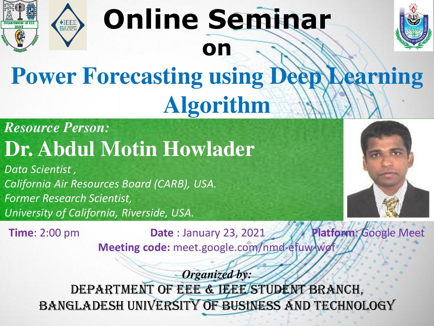 Online Seminar on Power Forecasting using Deep Learning Algorithm