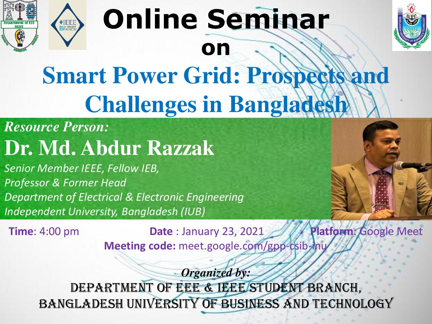 Online Seminar on Smart Power Grid: Prospects and Challenges in Bangladeash