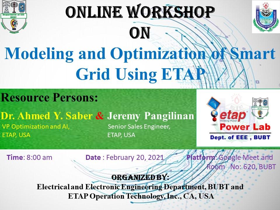 Online Workshop on the Modelling and Optimization of Smart Grid using ETAP