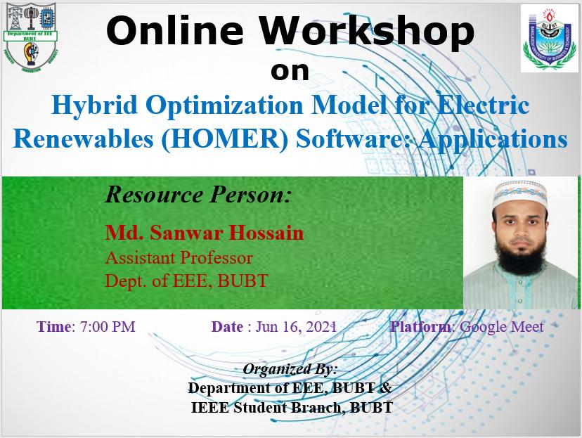 Online Workshop on Hybrid Optimization Model for Electric Renewables (HOMER) Software: Applications