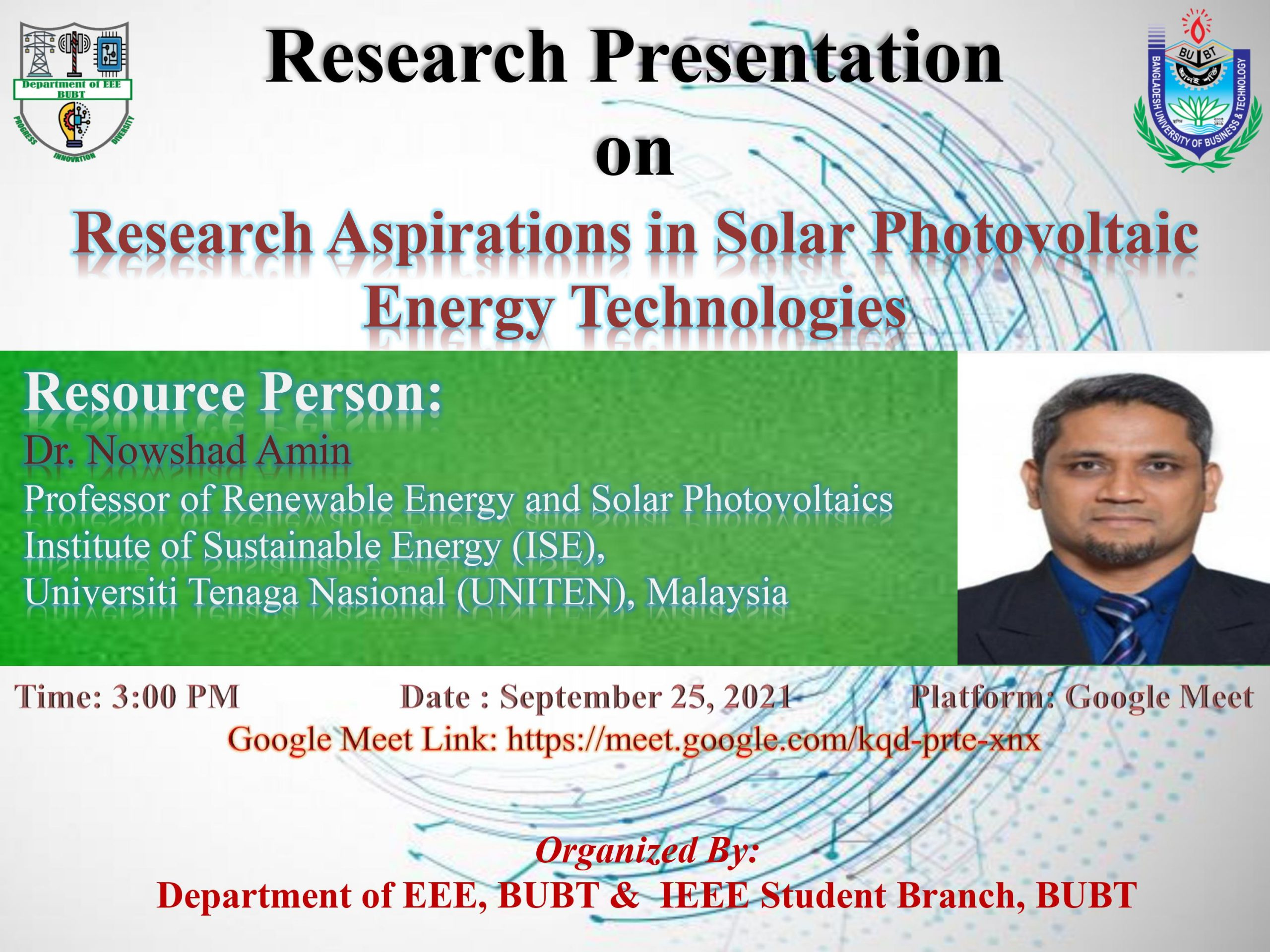 """Webinar on """"Research Aspirations in Solar Photovoltaic Energy Technology"""""""