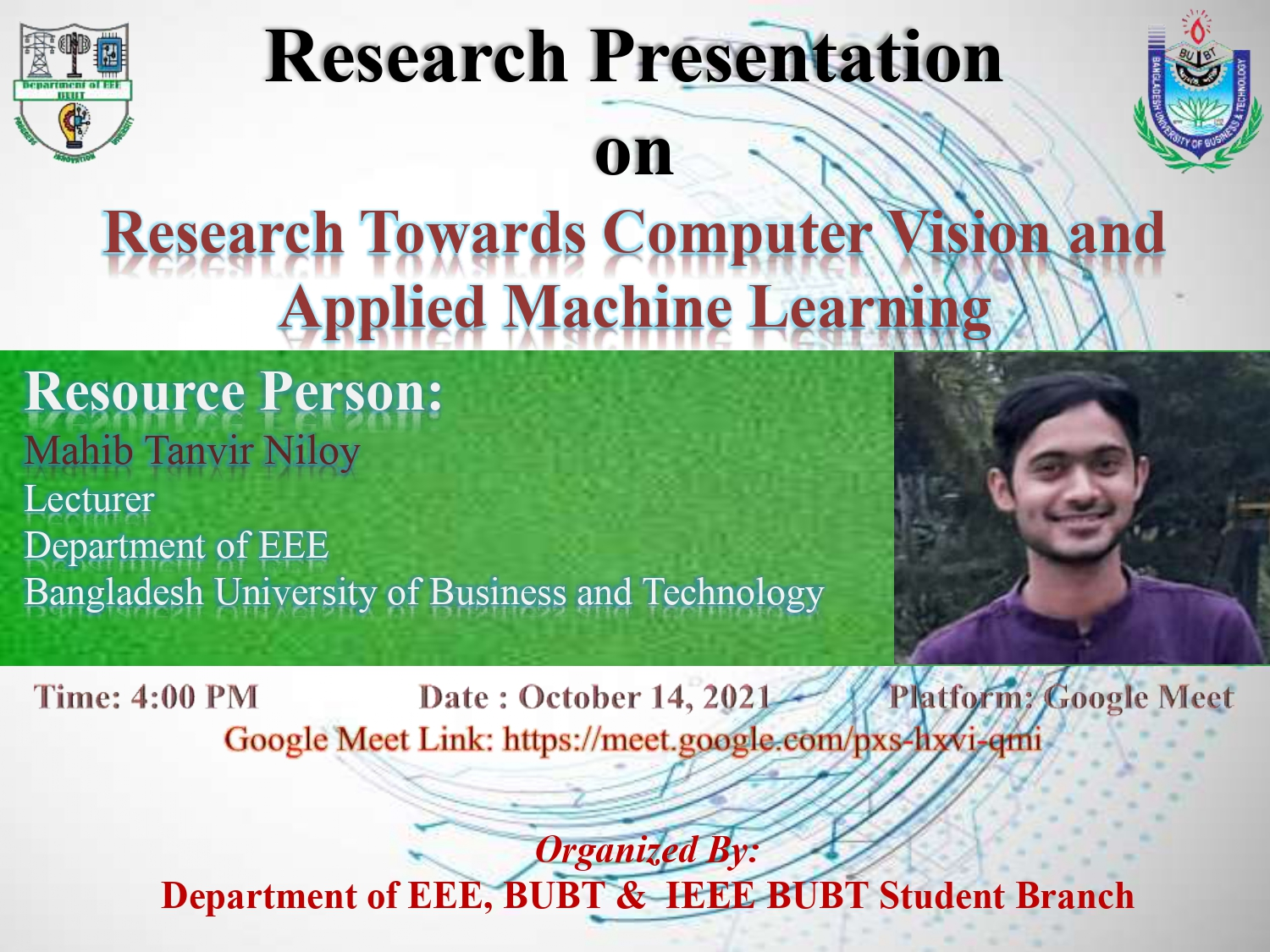 """Webinar on """"Research Towards Computer Vision and Applied Machine Learning"""""""